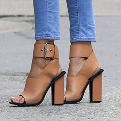 Shoespie Light Brown Chunky Heel Sandals