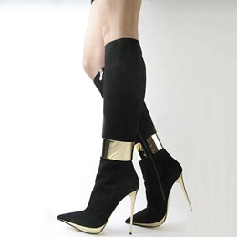 Shoespie Elegant Black Pointed Toe High Heel Knee High Boots