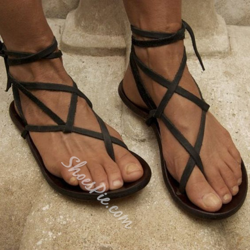 Shoespie Strappy Clip Toe Flat Sandals