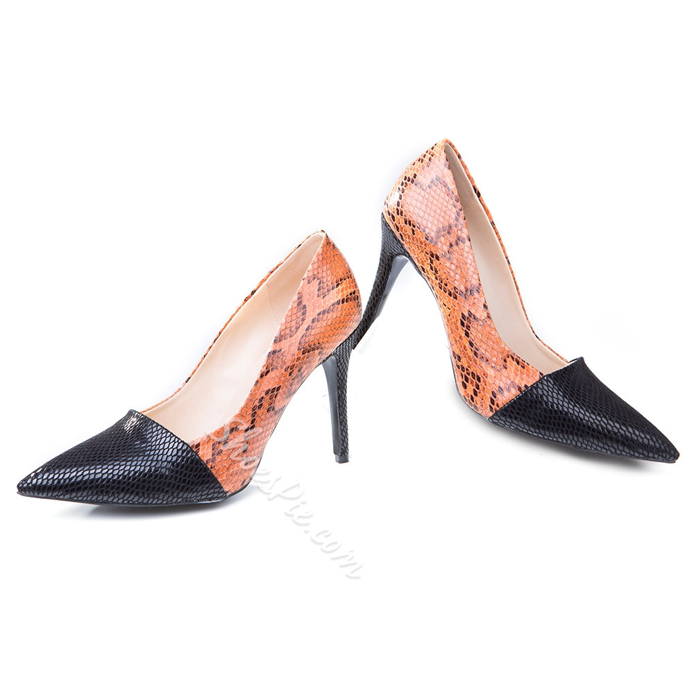 Shoespie Classy Two Tone Patchwork Stiletto Heels