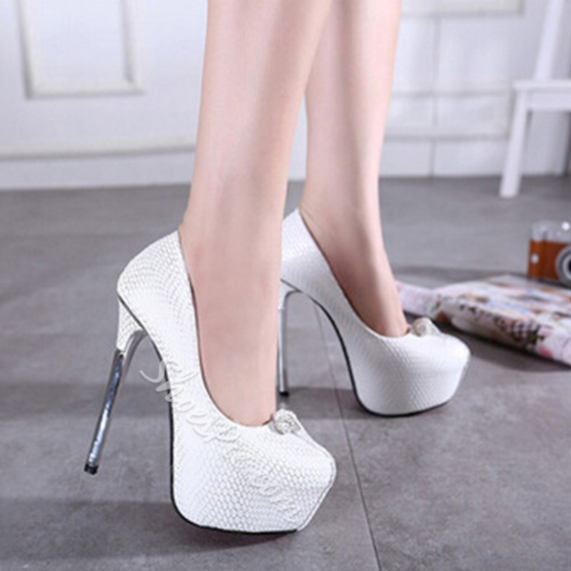 Shoespie Embossed Leather beaded Platform Heels