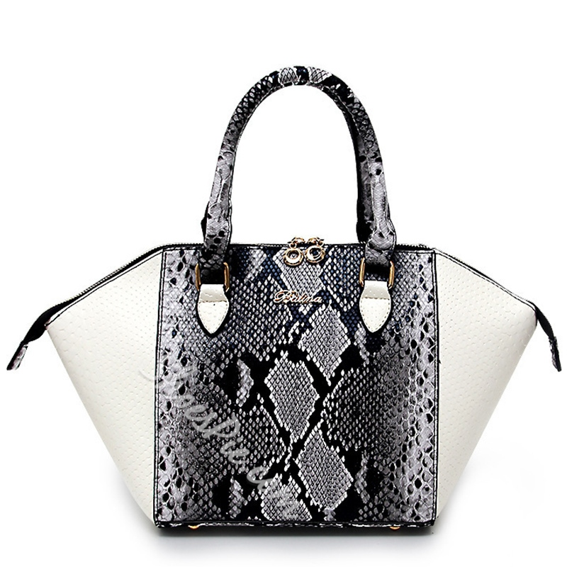 Shoespie Snake Effect Color Block Handbag
