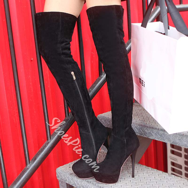 Shoespie Chic Solid Color Thigh High Boots