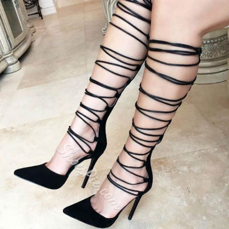 Shoespie Sexy Black Lace Up Knee High Stiletto Heels