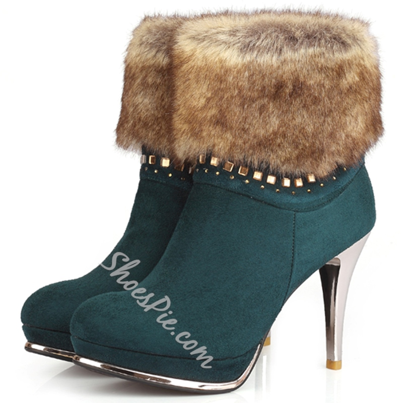 Shoespie Closed Toe Furry Booties