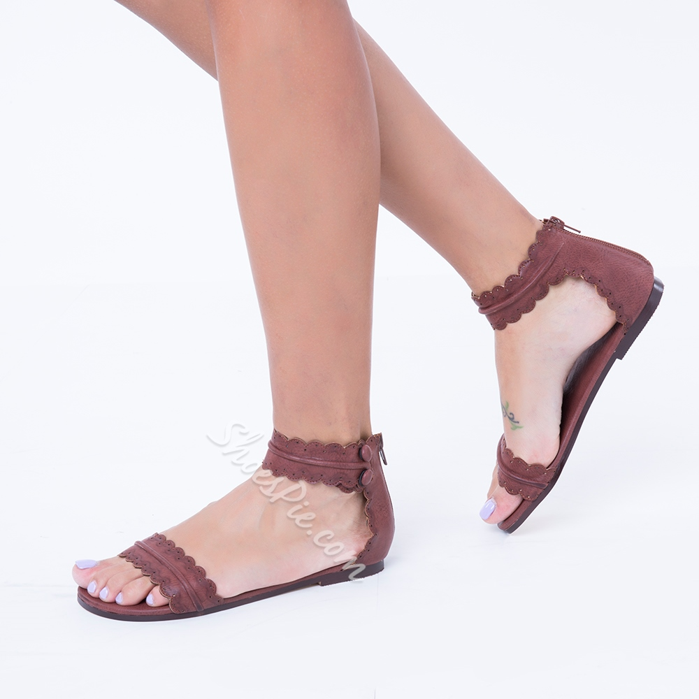 Shoespie Bohemia Flat Zipper Sandals