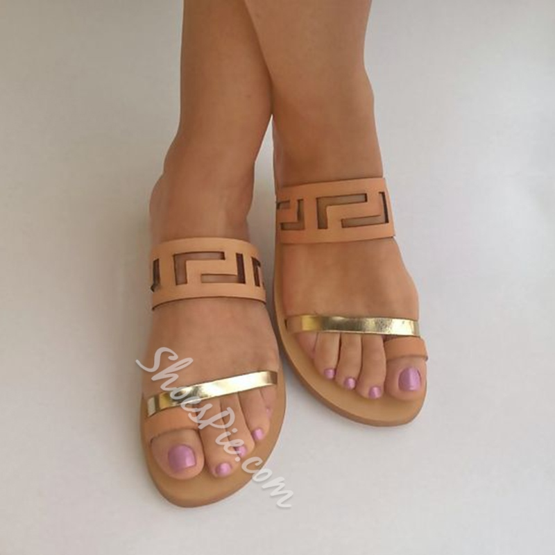 Shoespie Camel Cutout Flat Sandals