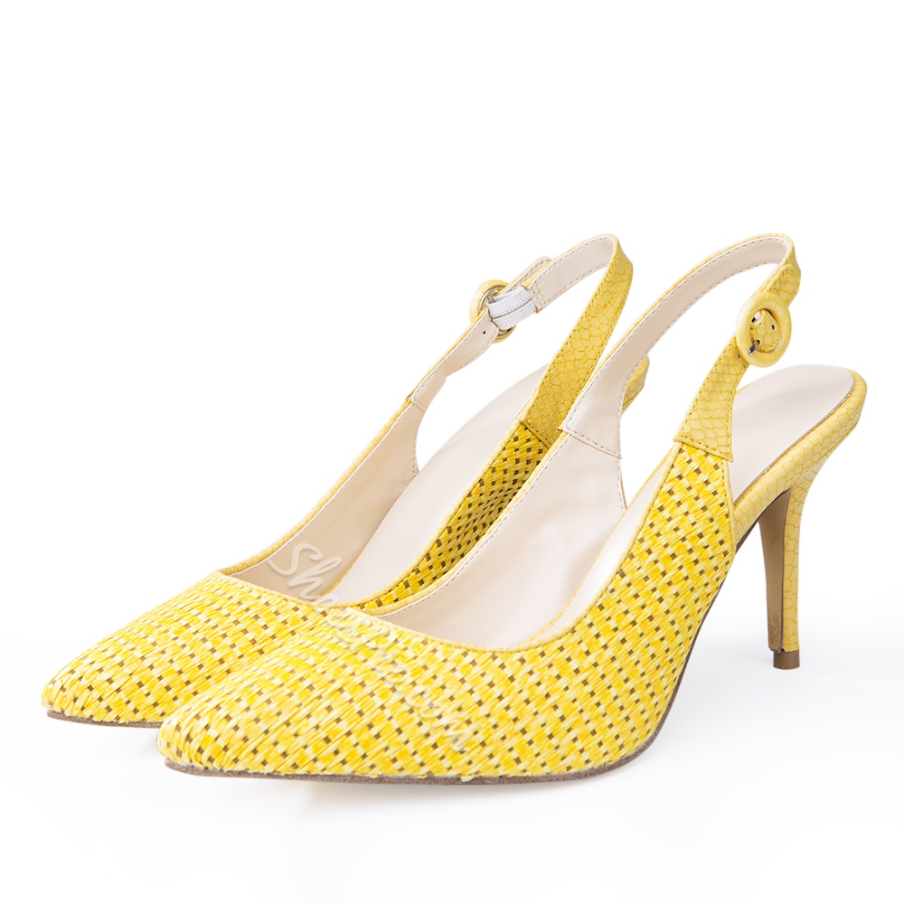Shoespie Yellow Pointed Toe Slingback Stiletto Heels