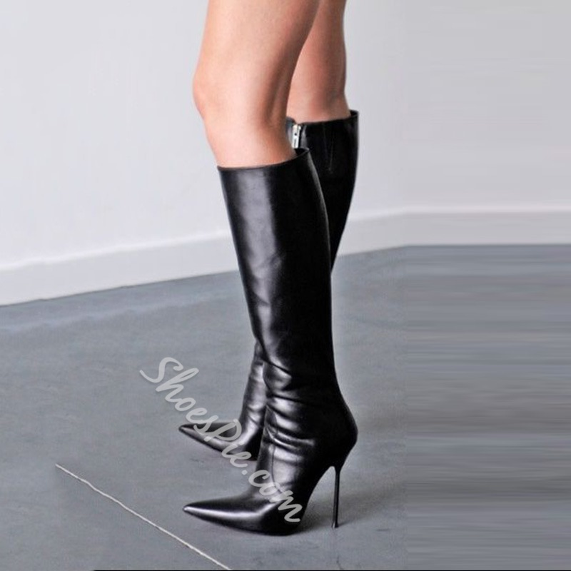 Shoespie Stylish Black Pointed Toe Stiletto Heel Knee High Boots