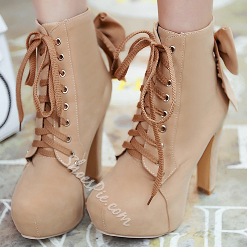 Shoespie Elegant Closed Toe Lace Up Platform Heel Chunky Heel Ankle Boots