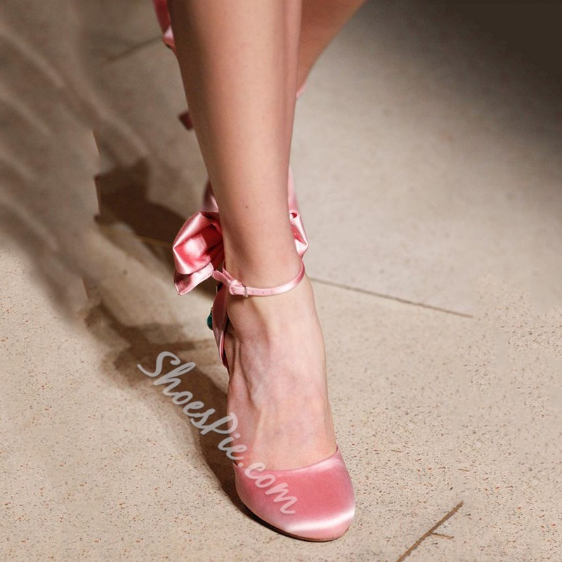 Shoespie Sweet Pink Flower Appliqued Satin Stiletto Heels