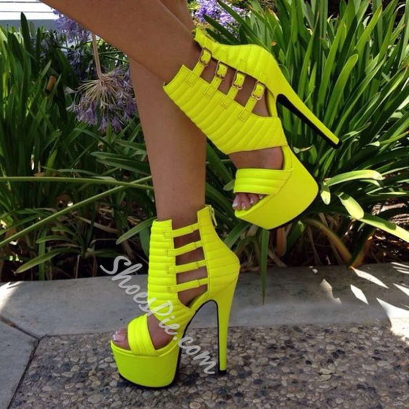 Shoepsie Neon Yellow Platform Sandals