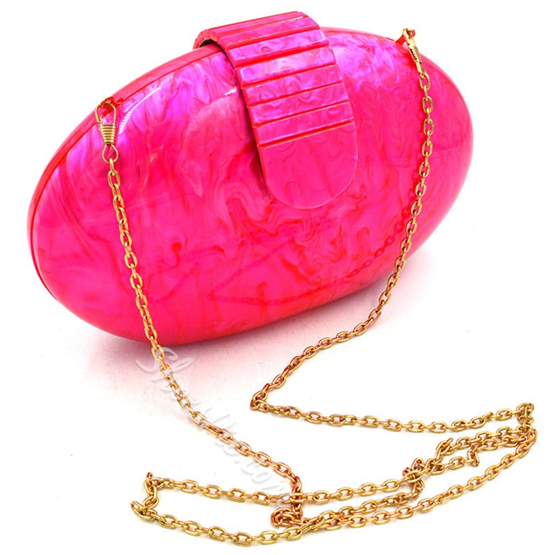 Shoespie Delicate Rose Red Stone Shape Clutch