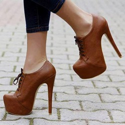 Shoespie Delicate Brown Lace Up Platform Ankle Boots