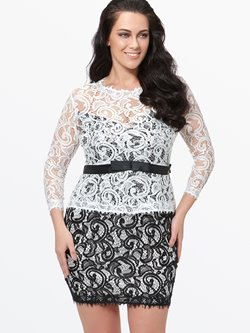 Plus Size Knee-Length Three-Quarter Sleeve Lace Pullover Women's Dress