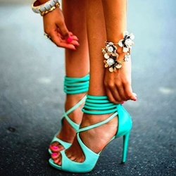 Shoespie Cyan Strappy Sandals