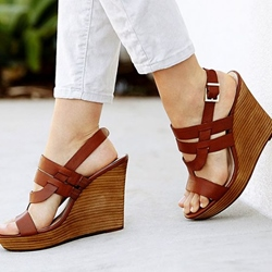 Sheospie Brown Wooden Heel Wedge Sandals