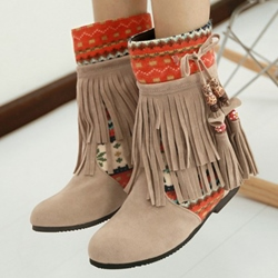 Shoespie Exotic Style Fringe Flat Boots
