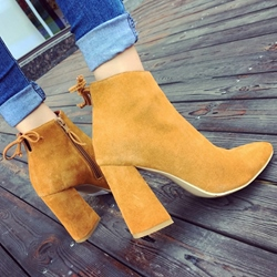 Shoespie Chic Solid Color Chunky Heel Booties