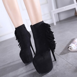 Shoespie Solid Color Fringe Platform Heel Ankle Boots