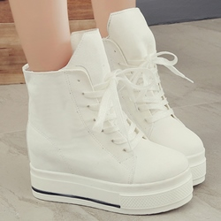Sheospie Platform Laceup Canvas Shoes
