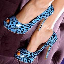 Shoespie Blue Leopard Peep Toe Sandals