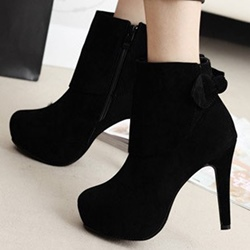Shoespie Chic Solid Color Black Back Bow Fashion Booties