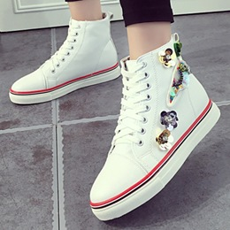 Shoespie Flower Applique High Upper Canvas Shoes