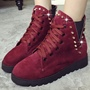 Shoespie Chic Solid Color Rivets Flat Boots