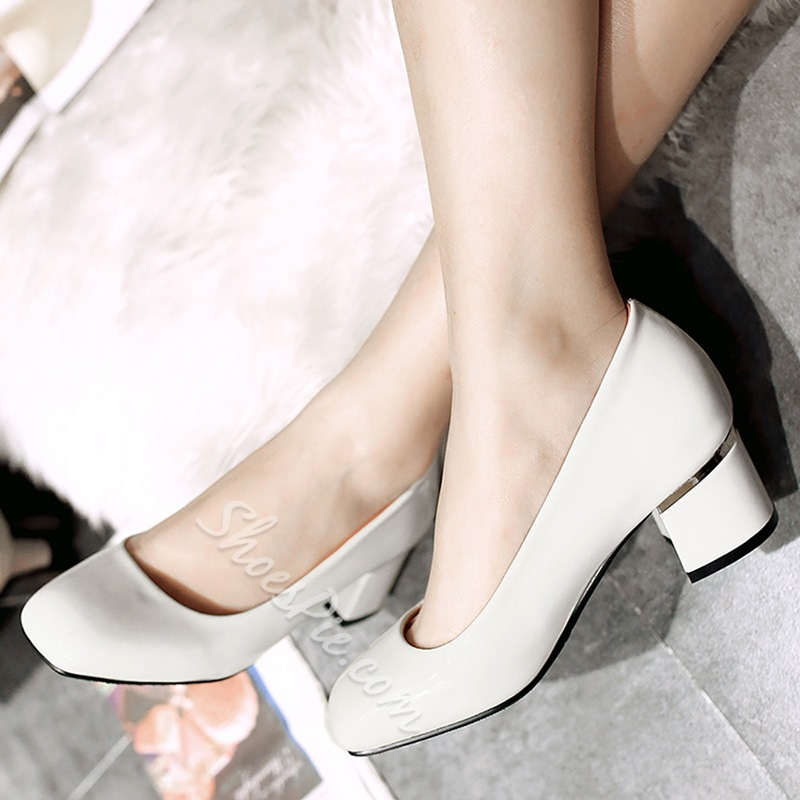 Shoespie Casual Patent Leather Low Heel Pumps