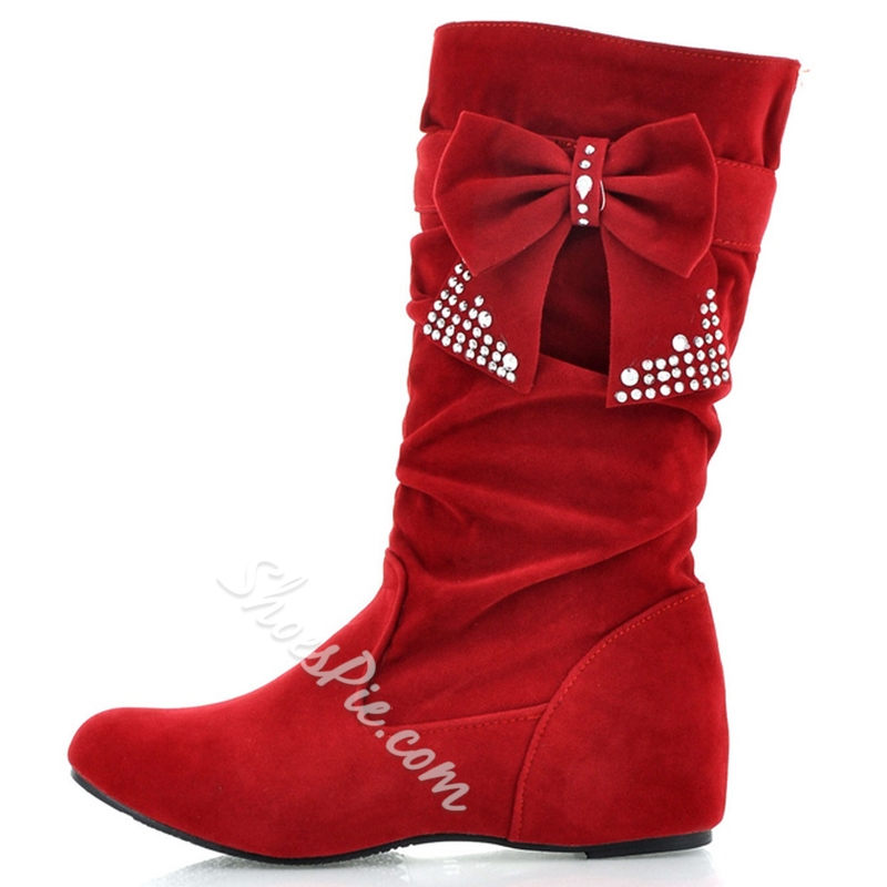 Shoespie Sweet Bow Flat Mid Calf Boots
