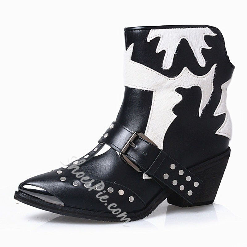Shoespie Fashion Street Style Color Block Rivets Booties