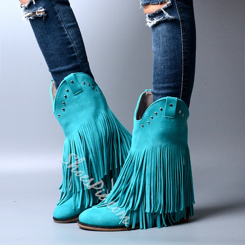 Shoespie Vintage Fringe Round Toe Mid Calf Booties