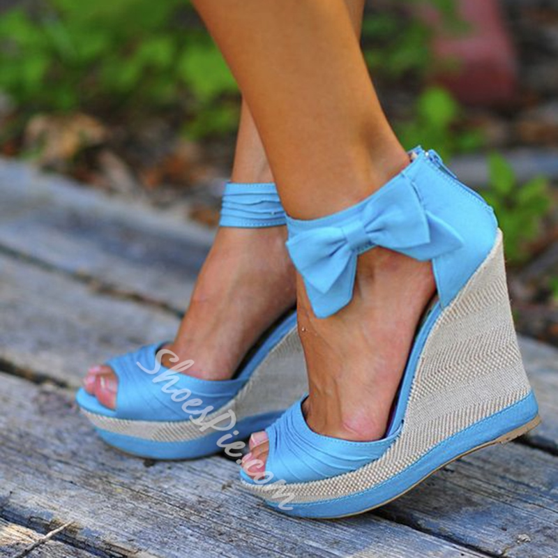 Shoespie Cute Blue Bow Wedge Sandals