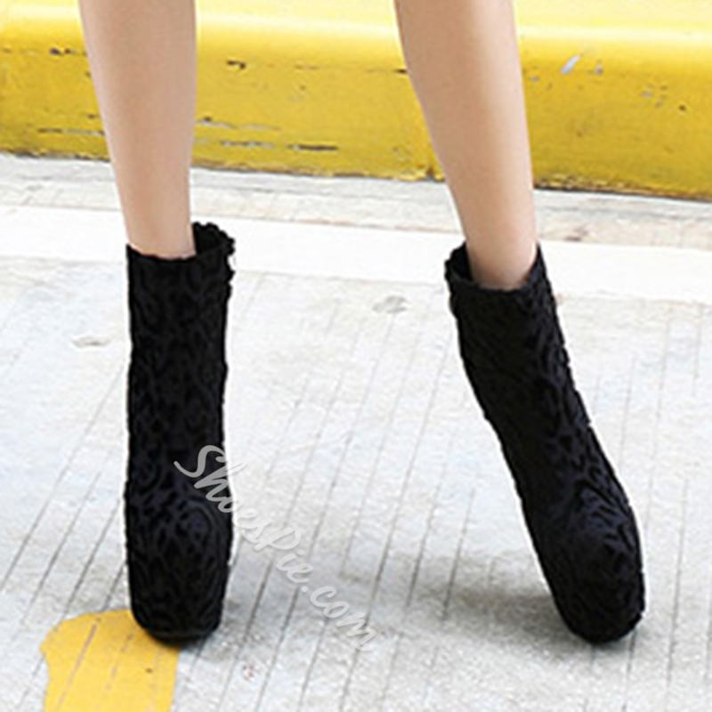 Shoespie Awesome Furry Print Platform Ankle Boots
