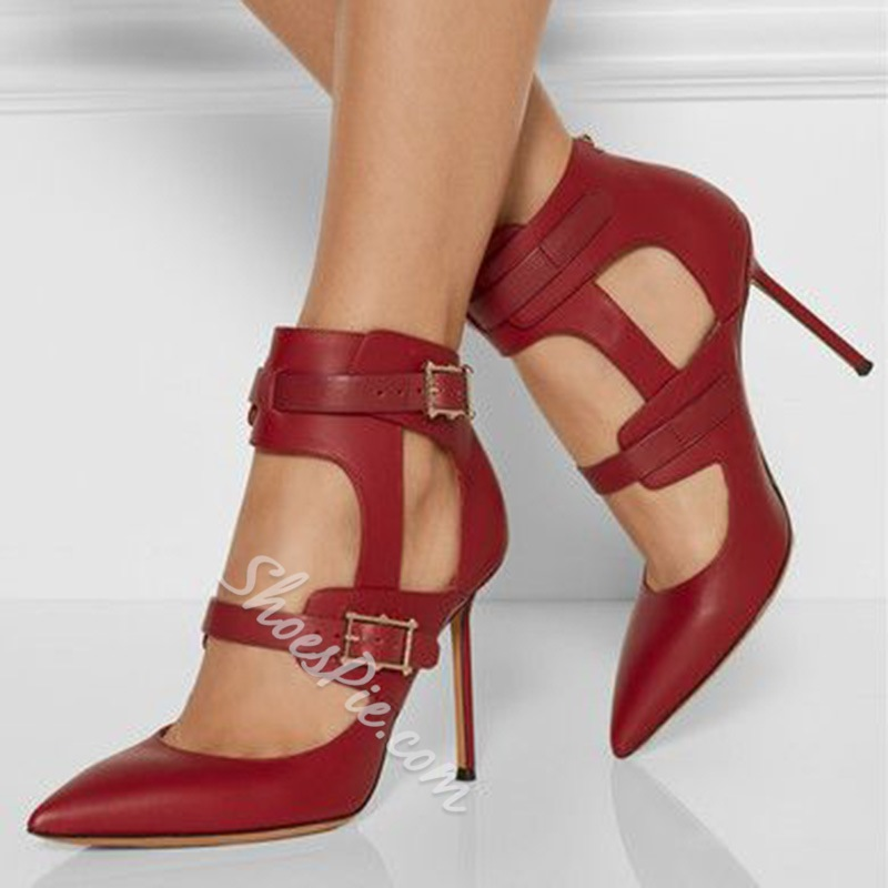 Shoespie Chic Burgundy Buckle Stiletto Heels