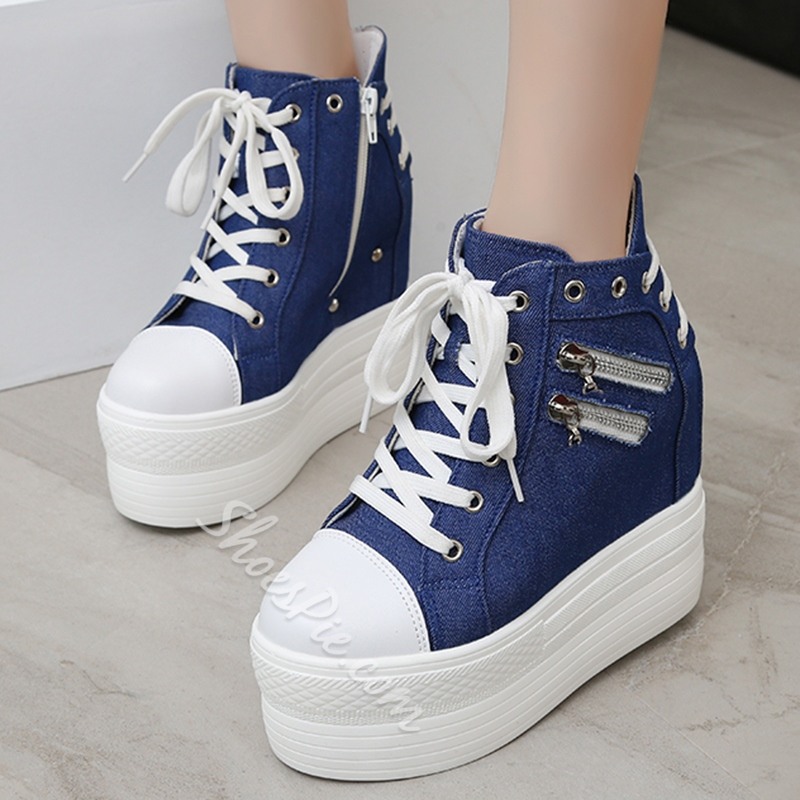 Shoespie Back Laceup Side Zipper Decorated Sneakers