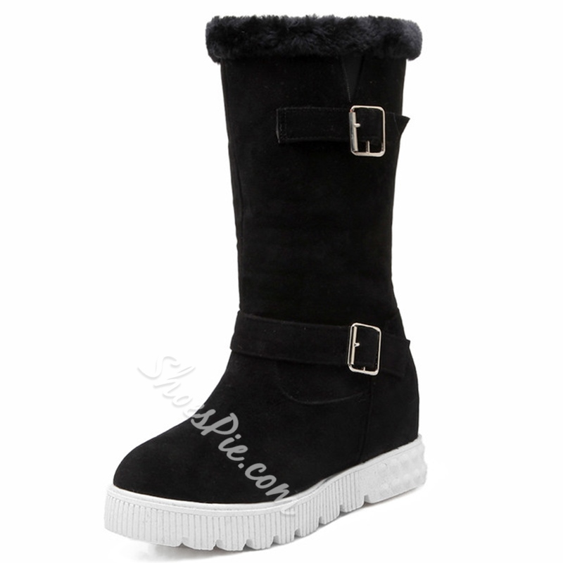 Shoespie Comfortable Solid Color Buckle Lug Sole Snow Boots