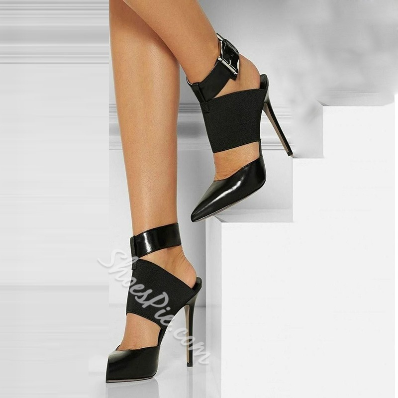 Shoespie Chic Black Buckle Ankle Wrap Stiletto Heels