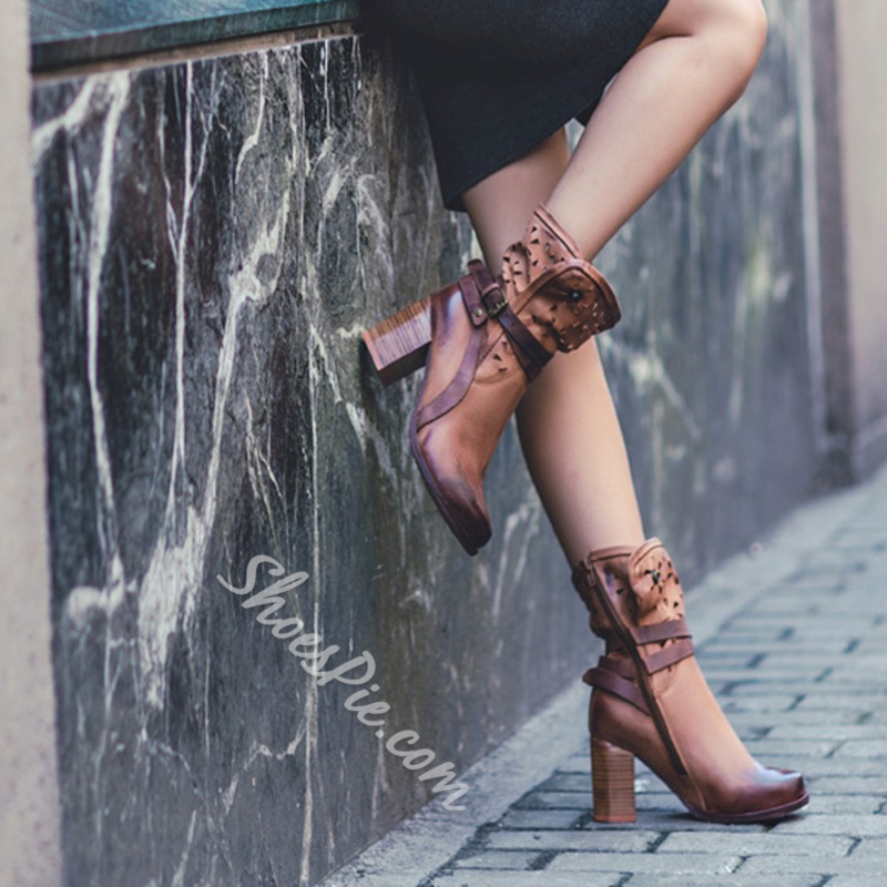 Shoespie Classic Vintage Cut Out Chunky Heel Ankle Boots