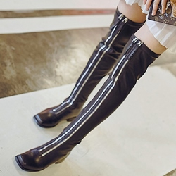 Shoespie Black Double Zipper Flat Knee High Boots
