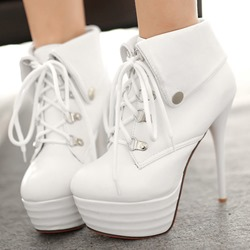 Shoespie Platform Stiletto Heel Lace-Up Boots