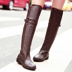 Shoespie Chic PU Round Toe Flat Knee High Boots