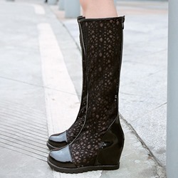 Shoespie Elegant Cut Out Wedge Heel Knee High Boots