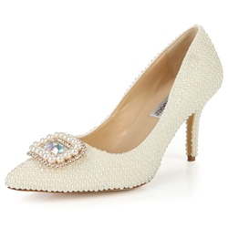 Shoespie Elegant Bead Appliqued Stiletto Heel Bridal Shoes