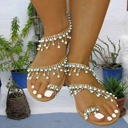 Shoespie Exquisite Beads Flat Sandals