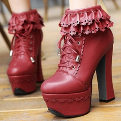 Shoespie Chic Flower Cut Out Platform Ankle Boots