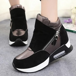 Shoespie Side Zipper Patchwork Sneakers