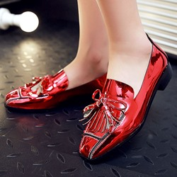 Shoespie Chic Iridescent Fringe Loafers