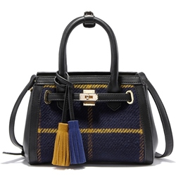 Shoespie British Style Plaid Fringe Embellished Handbag